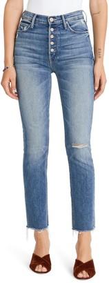 Mother The Pixie Dazzler Raw Hem Straight Leg Jeans