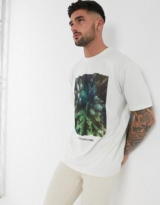 BOSS Plastic free tree print t-shirt in white