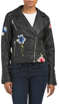 Juniors Flower Patches Biker Jacket
