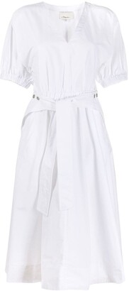3.1 Phillip Lim Utility Belted Dress W Gathered Sleeve
