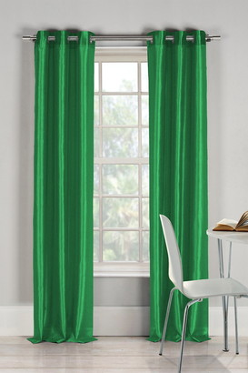 Duck River Textile Bali Faux Silk Grommet Panel Curtains - Set of 2 - Emerald