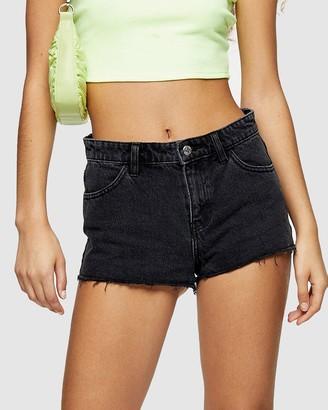 Topshop Women's Black Denim - Low Rise Denim Shorts - Size 4 at The Iconic
