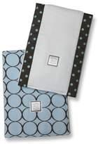 Swaddle Designs Baby Burpies, Mod Circles on Pastel Blue (Set of 2 Burp Cloths)