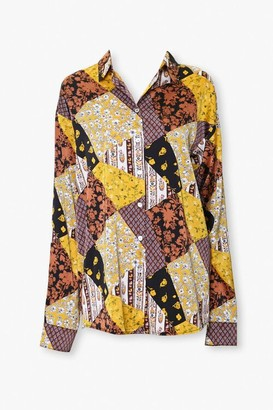 Forever 21 Patchwork Button-Down Shirt