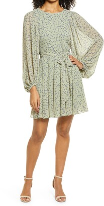 Ever New Godet Long Sleeve Minidress