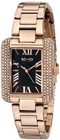 So & Co New York Madison Women's Quartz Watch with Black Dial Analogue Display and Rose Gold Stainless Steel Bracelet 5020.2
