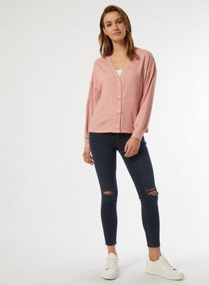 Dorothy Perkins Womens Blush Ribbed Button Cardigan