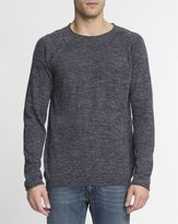 Nudie Jeans Speckled Blue Wool and Linen Round-Neck Vladimir Jumper