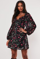 Missguided Black Floral Milkmaid Skater Dress