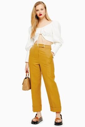 Topshop Womens Mustard Turn Up Peg Trousers - Mustard
