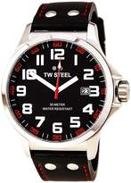 TW Steel Pilot TW411 Men's 48MM Leather Red Stitching Watch