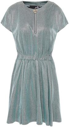 Love Moschino Gathered Metallic Jersey Mini Dress
