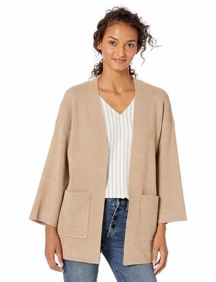 Cable Stitch Women's Brushed Kimono Sleeve Cardigan Marled Camel Small