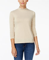 Charter Club Petite Metallic Mock-Neck Top, Only at Macy's