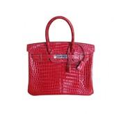 Hermes excellent (EX Braise Crocodile 30cm Birkin Bag, Palladium Hardware