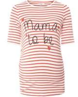Dorothy Perkins Womens **Maternity Red Striped 'Mama To Be' Motif T-Shirt- Red