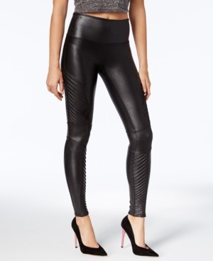 Spanx Petite Faux-Leather Moto Tummy Control Leggings