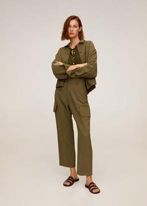 MANGO Flowy blouse khaki - 2 - Women