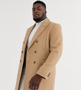 Asos Design DESIGN Plus wool mix double breasted overcoat in camel