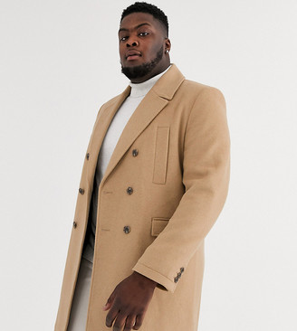 ASOS DESIGN Plus wool mix double breasted overcoat in camel