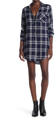 Heartloom Plaid Lace-Up Shirt Dress