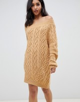 Asos Design DESIGN cable off shoulder mini dress in rib
