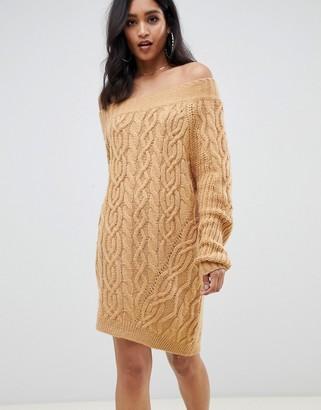ASOS DESIGN cable off shoulder mini dress in rib