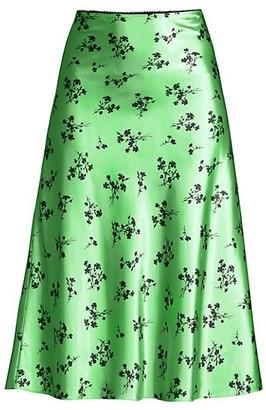 LIKELY Cruz Floral Satin A-Line Skirt