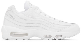 Nike White and Grey Air Max 95 Essential Sneakers