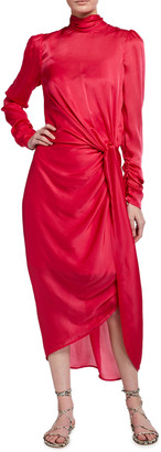 Zimmermann Draped Long-Sleeve Asymmetric Cocktail Dress