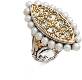 Konstantino Sterling & Cultured Pearl Marquise Ring