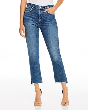 AGOLDE Riley Frayed Hem Cropped Straight-Leg Jeans in Disguise