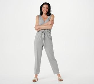 AnyBody Petite Cozy Knit V-Neck Surplice Jumpsuit