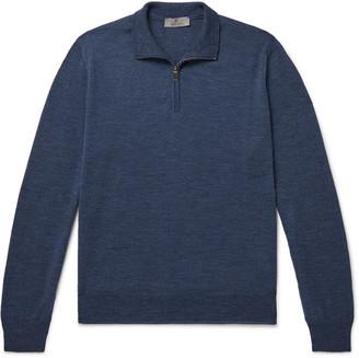 Canali Slim-Fit Melange Merino Wool Half-Zip Sweater