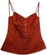 BCBGMAXAZRIA Orange Silk Top