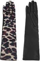 Lanvin Shiny Leopard Jacquard Gloves
