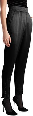 Giorgio Armani Elastic-Waist Crepe Satin Button-Hem Pants