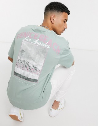 Topman short sleeve sweat with miami print in green