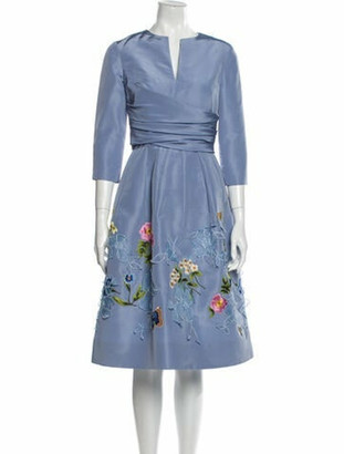 Oscar de la Renta 2020 Midi Length Dress Blue