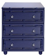 The Well Appointed House Worlds Away Peyton Navy Lacquer Bamboo Nightstand