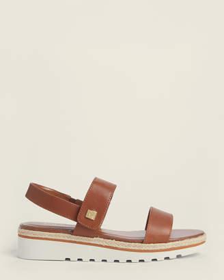 Lauren Ralph Lauren Polo Tan Jewelle Wedge Leather Sandals