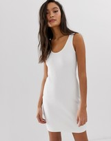 Weekday bubble bodycon jersey dress in white