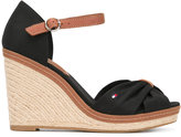 Tommy Hilfiger crossed front wedge sandals - women - Leather/Tactel/rubber - 38