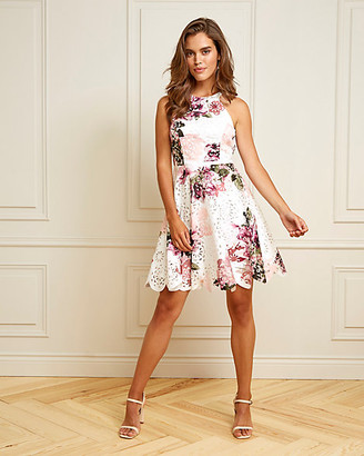 Le Château Floral Print Knit Halter Neck Dress