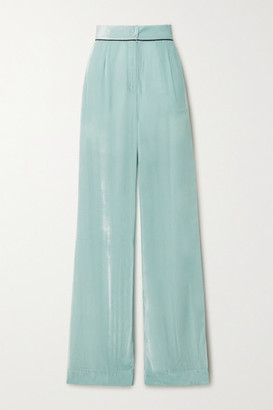SLEEPING WITH JACQUES Piped Crushed-velvet Pajama Pants - Mint