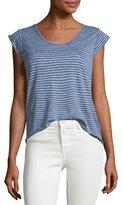 Joie Neyo Cap-Sleeve Striped Linen Top