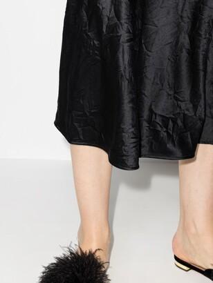 Ganni Black Crinkled Midi Skirt