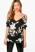 Boohoo Maternity Sophie Frill Sleeve Cold Shoulder Top