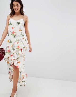 Vila Floral Printed Wrap Midi Dress