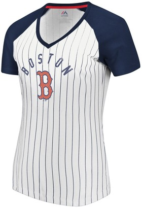 Majestic Women's White/Navy Boston Red Sox Paid our Dues Raglan V-Neck T-Shirt
